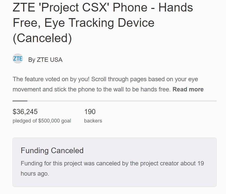 Photo of ZTE отменила сбор средств на ZTE Hawkeye в рамках Project CSX