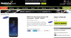 В Великобритании Samsung Galaxy S8 по предварительному заказу стоит £799