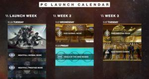 Расписание первых событий Destiny 2 на PC и список уже известных проблем