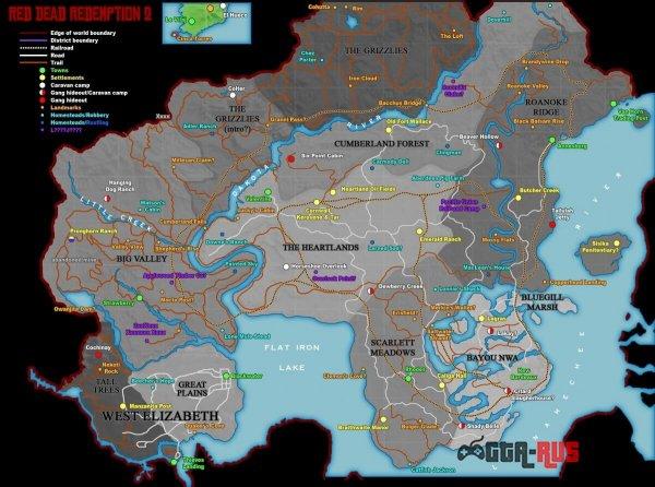 Предполагаемая карта Red Dead Redemption 2.