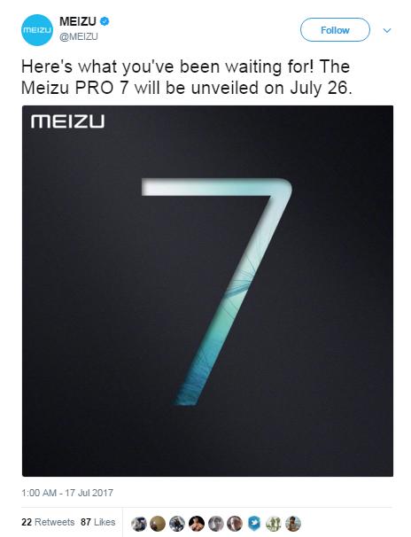 Meizu PRO 7 представят 26 июля