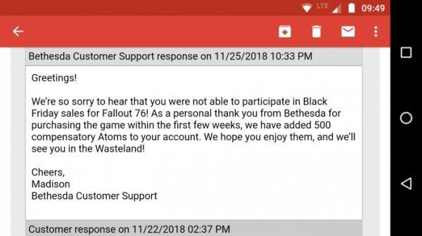 Покупатель Fallout 76 пожаловался в Bethesda, что игру уже продают со скидками. Ему выплатили 500 атомов